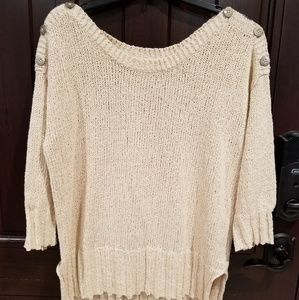 Lucky Brand Womens Top Blouse Knit Large Crocheted